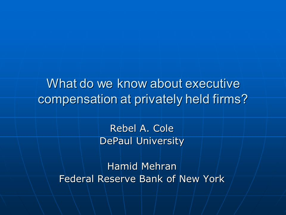 What do we know about executive compensation at privately held firms.