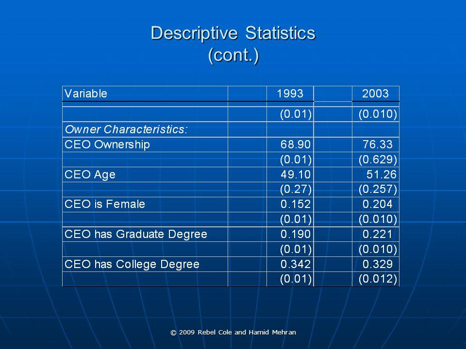 © 2009 Rebel Cole and Hamid Mehran Descriptive Statistics (cont.)