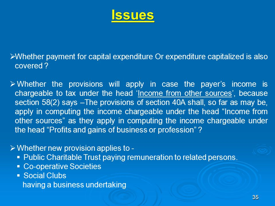 35 Issues  Whether payment for capital expenditure Or expenditure capitalized is also covered .