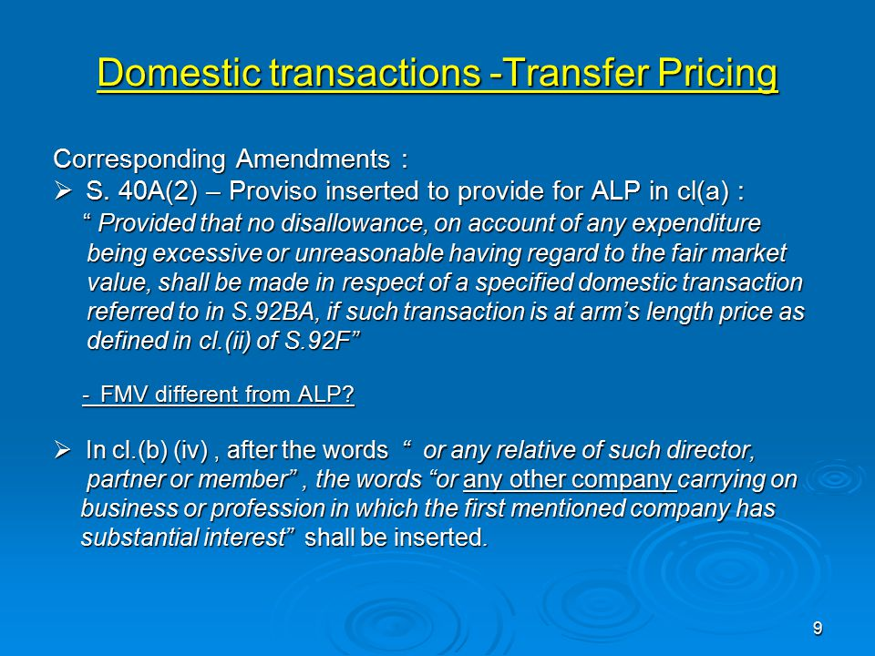 Domestic transactions -Transfer Pricing Corresponding Amendments :  S.