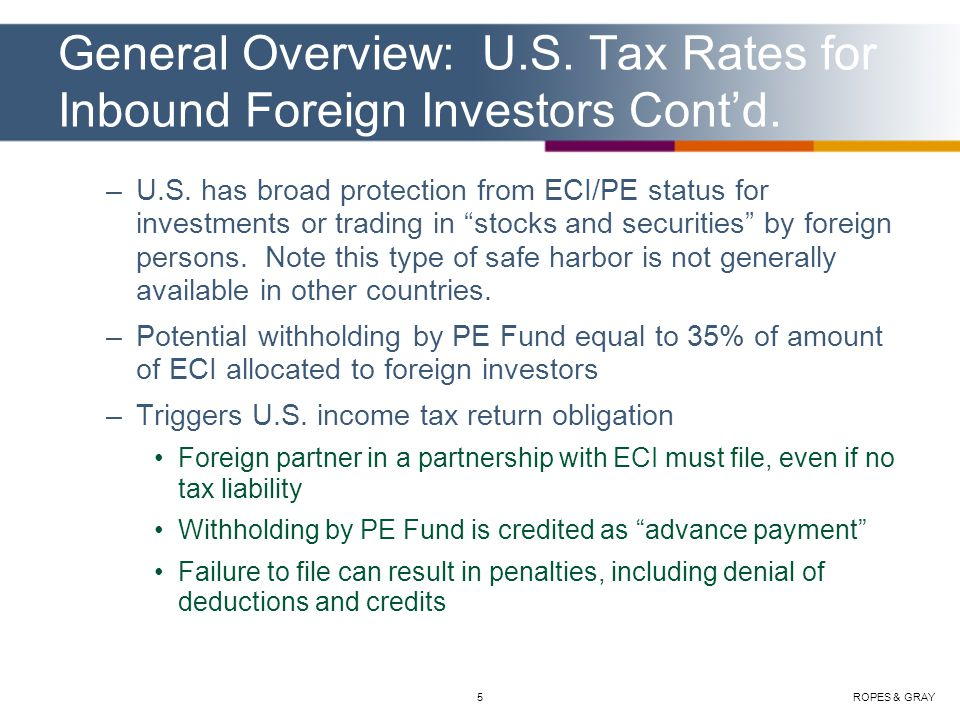 ROPES & GRAY6 Role of PE Fund Organized in The U.S.
