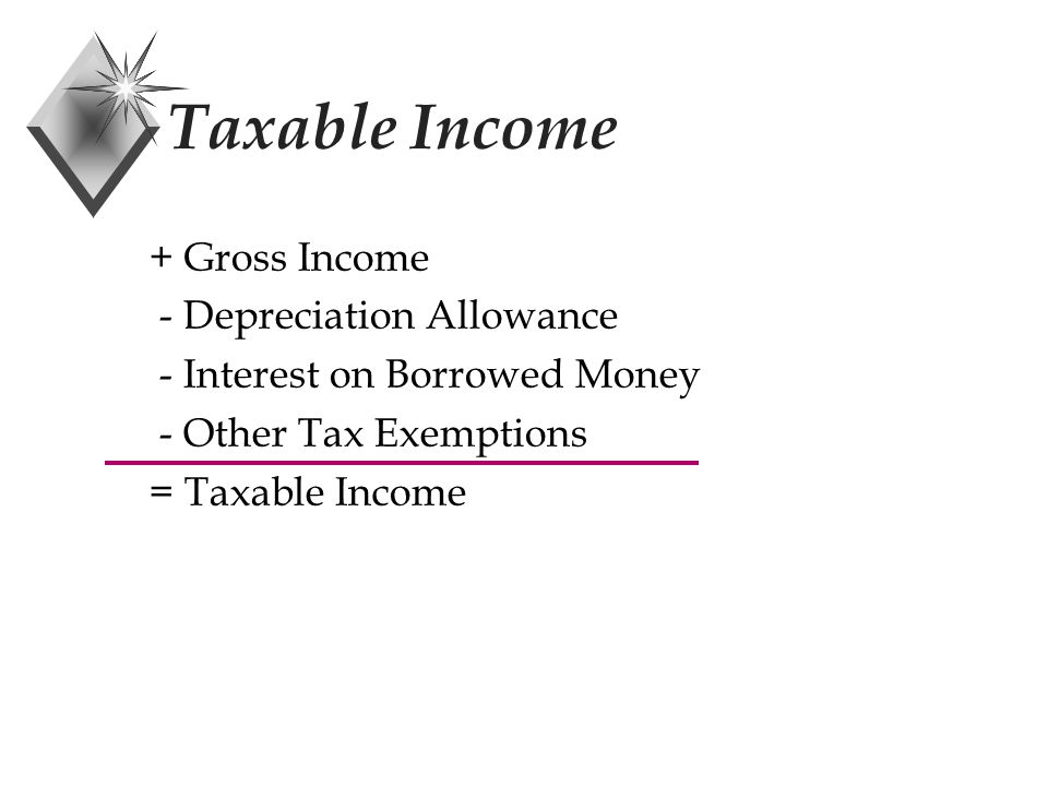 Income Forecast Method u Allows for equal depreciation for each unit of output where R t = rent income earned during the year R = total likely rent to be earned during life (P-F) = depreciable amount allowed R R FPD t t )( 