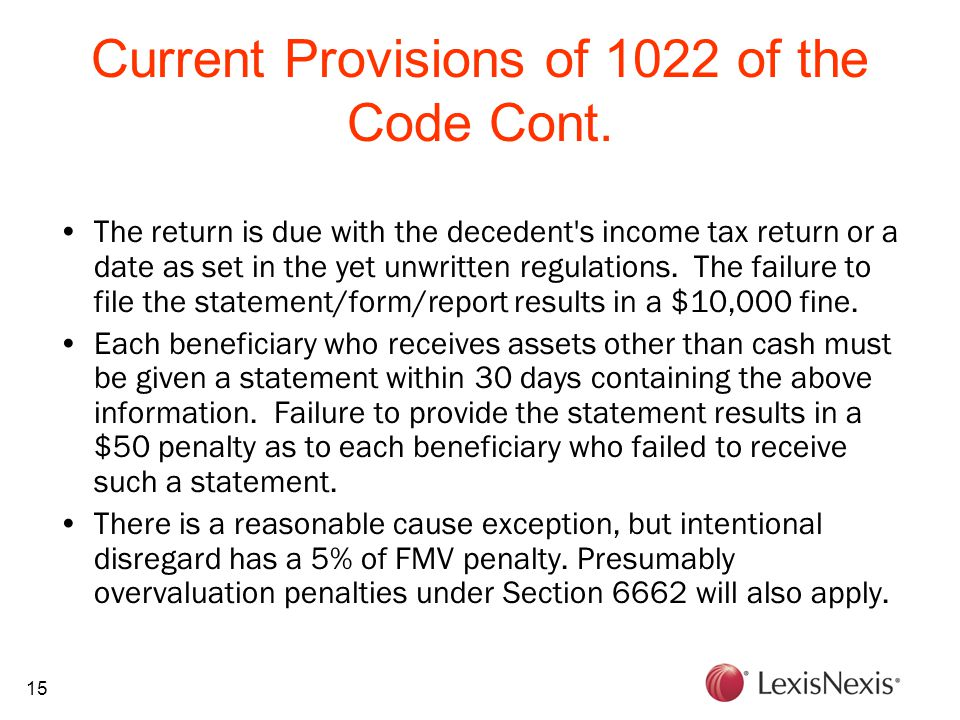 15 Current Provisions of 1022 of the Code Cont.