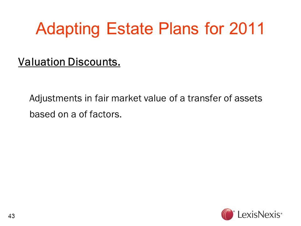 43 Adapting Estate Plans for 2011 Valuation Discounts.