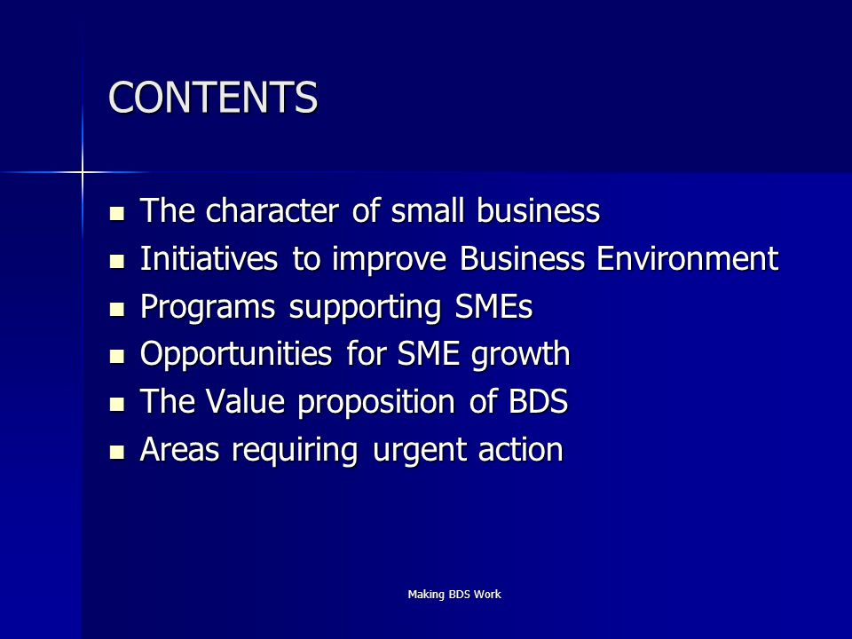 Making BDS Work CONTENTS The character of small business The character of small business Initiatives to improve Business Environment Initiatives to improve Business Environment Programs supporting SMEs Programs supporting SMEs Opportunities for SME growth Opportunities for SME growth The Value proposition of BDS The Value proposition of BDS Areas requiring urgent action Areas requiring urgent action