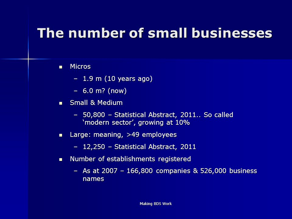 Making BDS Work The number of small businesses Micros Micros –1.9 m (10 years ago) –6.0 m.
