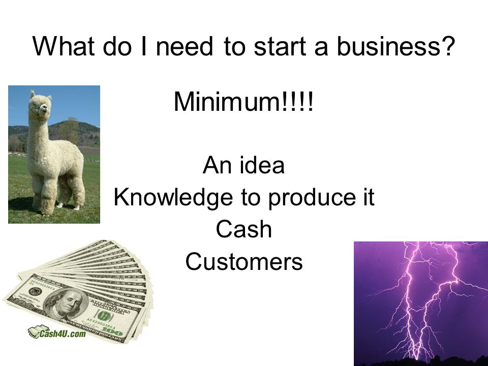 What do I need to start a business. Minimum!!!.
