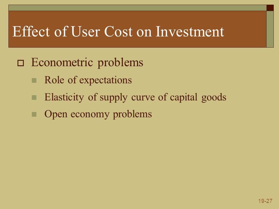 19-27 Effect of User Cost on Investment  Econometric problems Role of expectations Elasticity of supply curve of capital goods Open economy problems