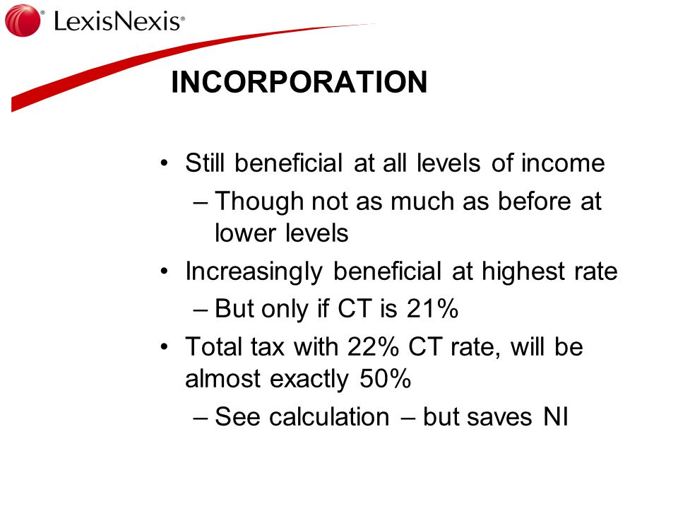 INCORPORATION Still beneficial at all levels of income –Though not as much as before at lower levels Increasingly beneficial at highest rate –But only