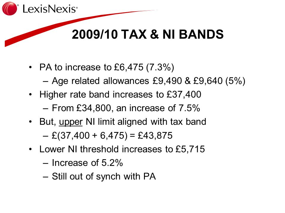 ORIGINAL PROPOSAL 2010-12 From pre-budget statement in Nov 2008 2010-11 start to lose PAs once GROSS income exceeds 100k/140k –Half lost each time 2011-12 taxed at 45% over £150k NET income