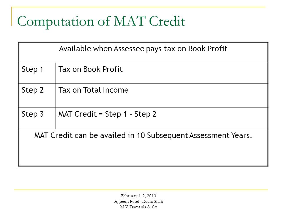 Computation of MAT Credit Available when Assessee pays tax on Book Profit Step 1Tax on Book Profit Step 2Tax on Total Income Step 3MAT Credit = Step 1