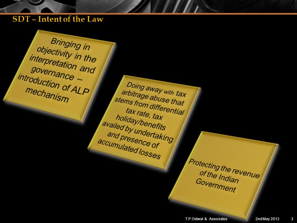 SDT – Intent of the Law 2nd May 20133T.P.Ostwal & Associates