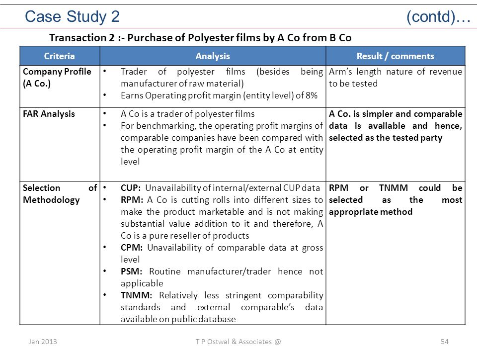 Jan 2013T P Ostwal & Associates @54 CriteriaAnalysisResult / comments Company Profile (A Co.) Trader of polyester films (besides being manufacturer of raw material) Earns Operating profit margin (entity level) of 8% Arm's length nature of revenue to be tested FAR Analysis A Co is a trader of polyester films For benchmarking, the operating profit margins of comparable companies have been compared with the operating profit margin of the A Co at entity level A Co.