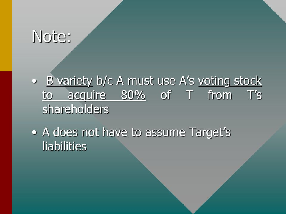 Note: B variety b/c A must use A's voting stock to acquire 80% of T from T's shareholders B variety b/c A must use A's voting stock to acquire 80% of