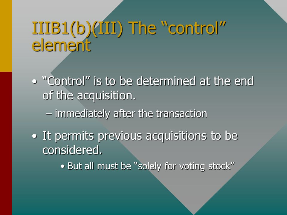 IIIB1(b)(III) The control element Control is to be determined at the end of the acquisition. Control is to be determined at the end of the acquisition.