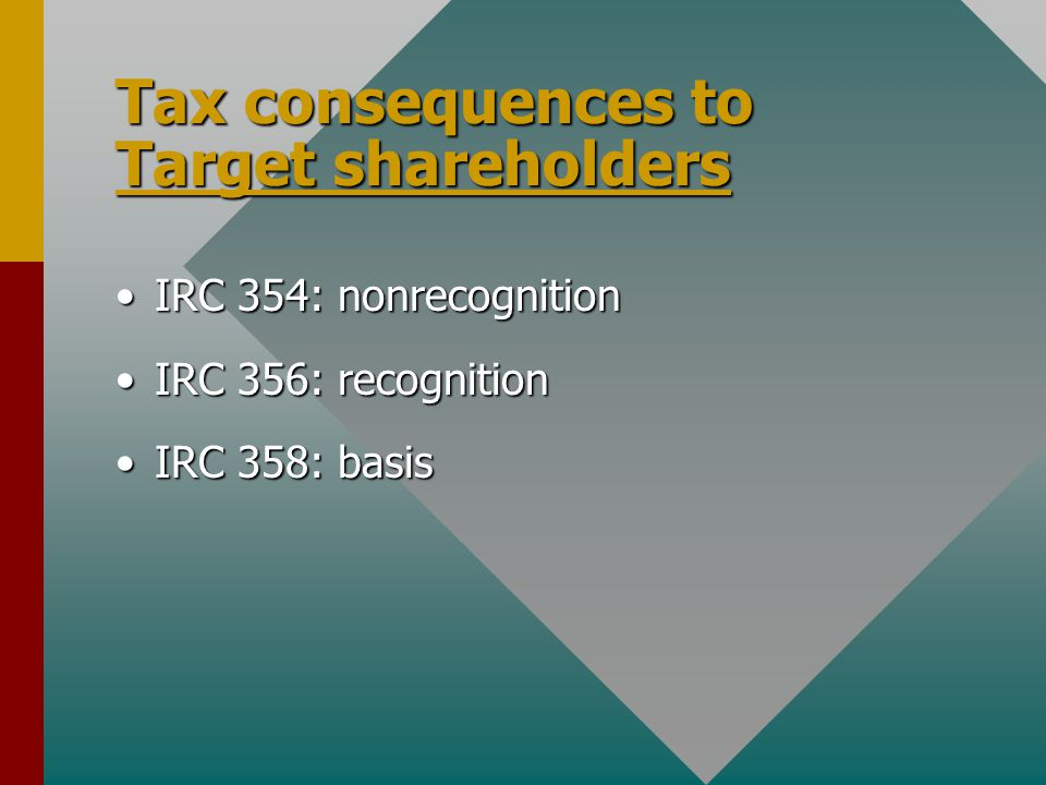 Tax consequences to Target shareholders IRC 354: nonrecognitionIRC 354: nonrecognition IRC 356: recognitionIRC 356: recognition IRC 358: basisIRC 358: basis