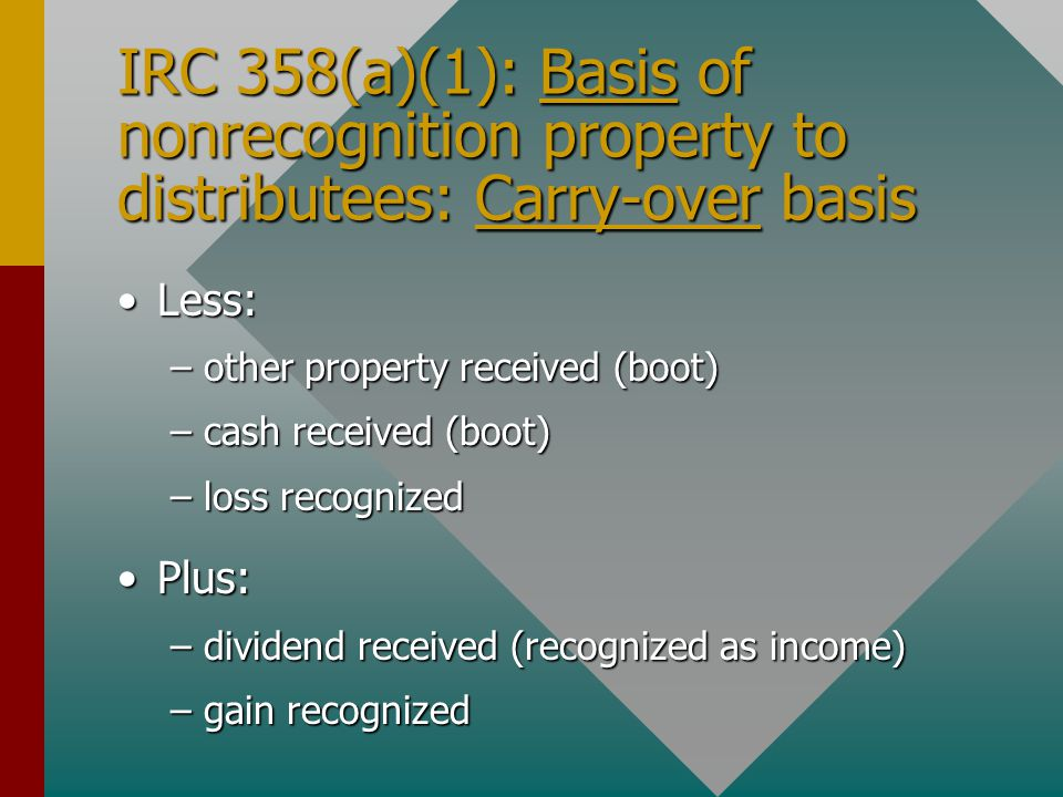 IRC 358(a)(1): Basis of nonrecognition property to distributees: Carry-over basis Less:Less: –other property received (boot) –cash received (boot) –loss recognized Plus:Plus: –dividend received (recognized as income) –gain recognized