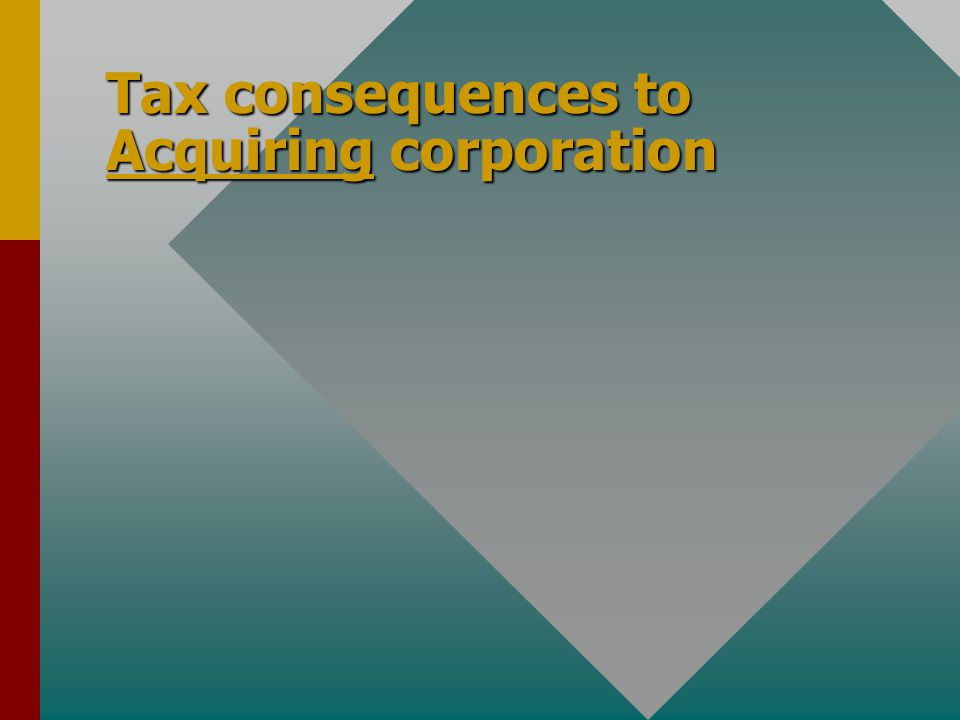 Tax consequences to Acquiring corporation