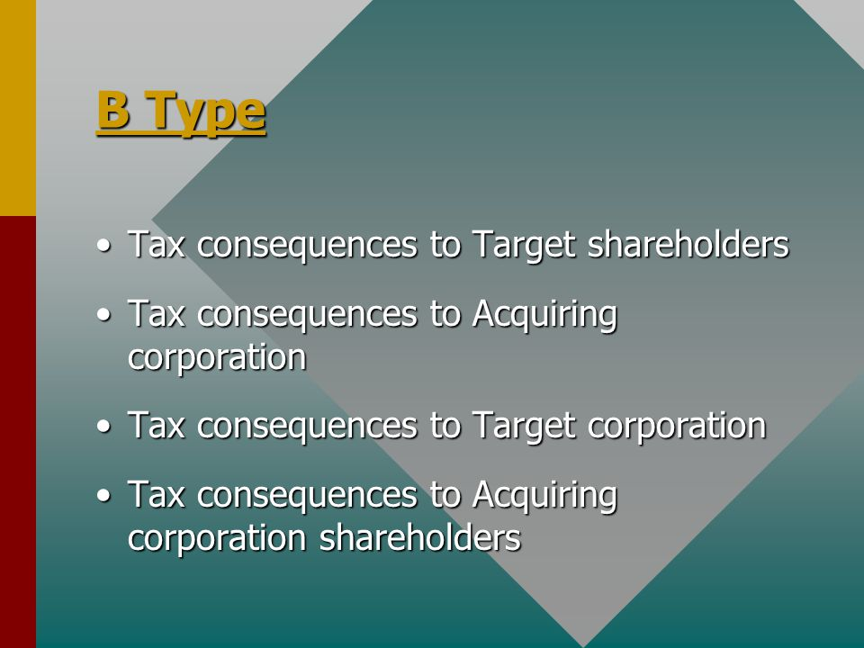 B Type Tax consequences to Target shareholdersTax consequences to Target shareholders Tax consequences to Acquiring corporationTax consequences to Acquiring corporation Tax consequences to Target corporationTax consequences to Target corporation Tax consequences to Acquiring corporation shareholdersTax consequences to Acquiring corporation shareholders
