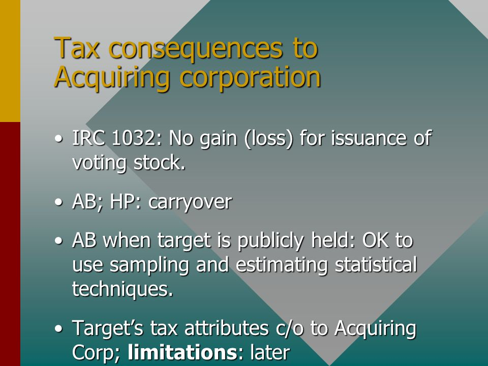 Tax consequences to Acquiring corporation IRC 1032: No gain (loss) for issuance of voting stock.IRC 1032: No gain (loss) for issuance of voting stock.