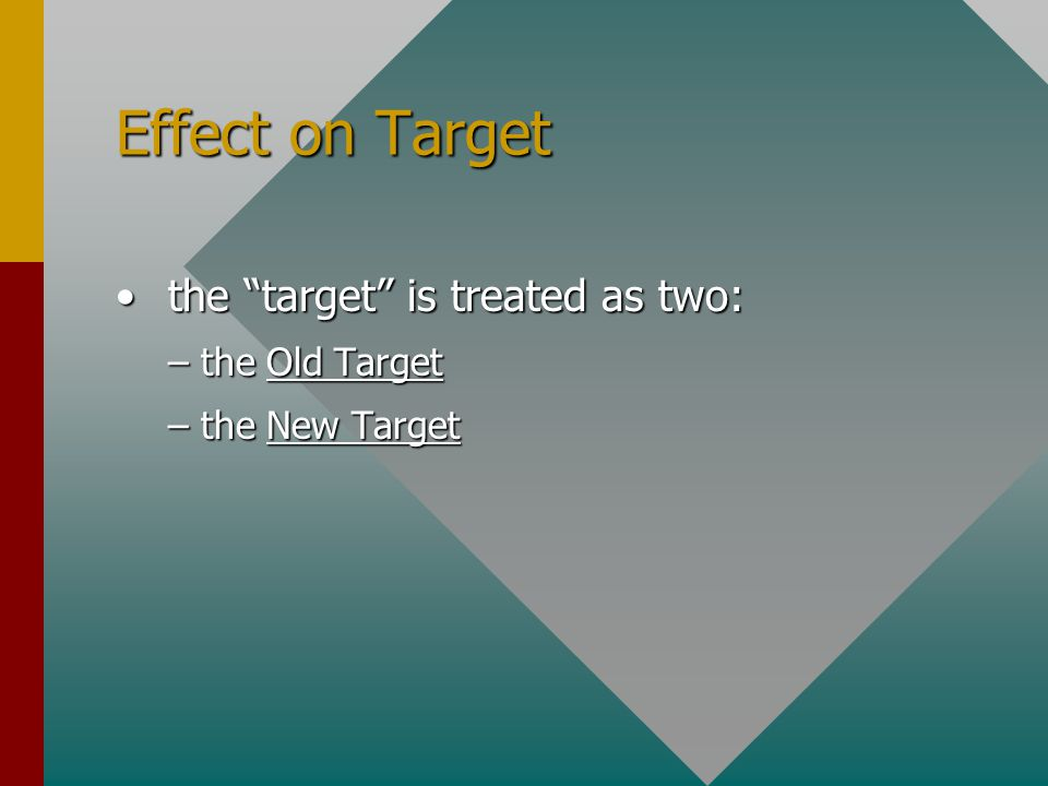 Effect on Target the target is treated as two: the target is treated as two: –the Old Target –the New Target