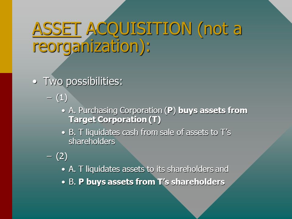 ASSET ACQUISITION (not a reorganization): Two possibilities:Two possibilities: –(1) A.