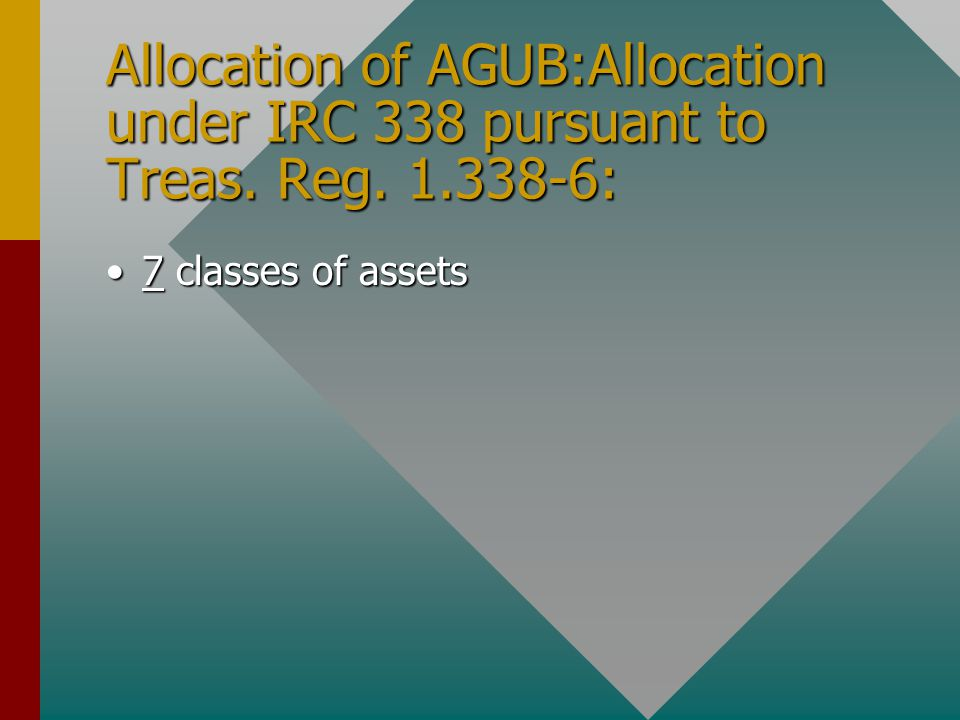 Allocation of AGUB:Allocation under IRC 338 pursuant to Treas. Reg. 1.338-6: 7 classes of assets7 classes of assets
