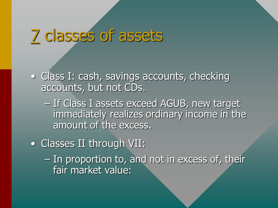 7 classes of assets Class I: cash, savings accounts, checking accounts, but not CDs.Class I: cash, savings accounts, checking accounts, but not CDs. –