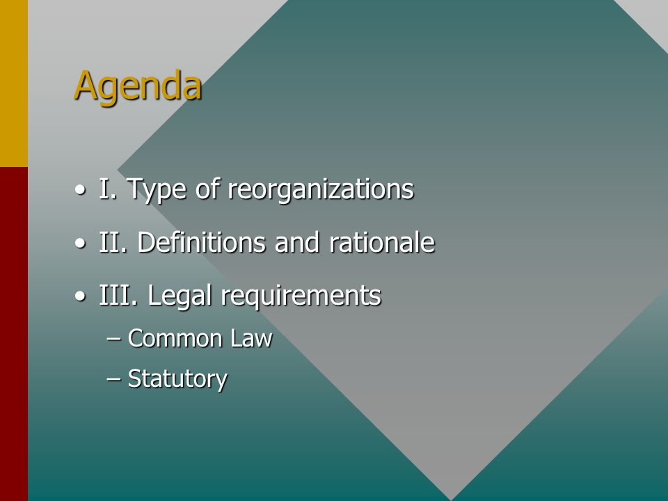 Agenda I. Type of reorganizationsI. Type of reorganizations II.
