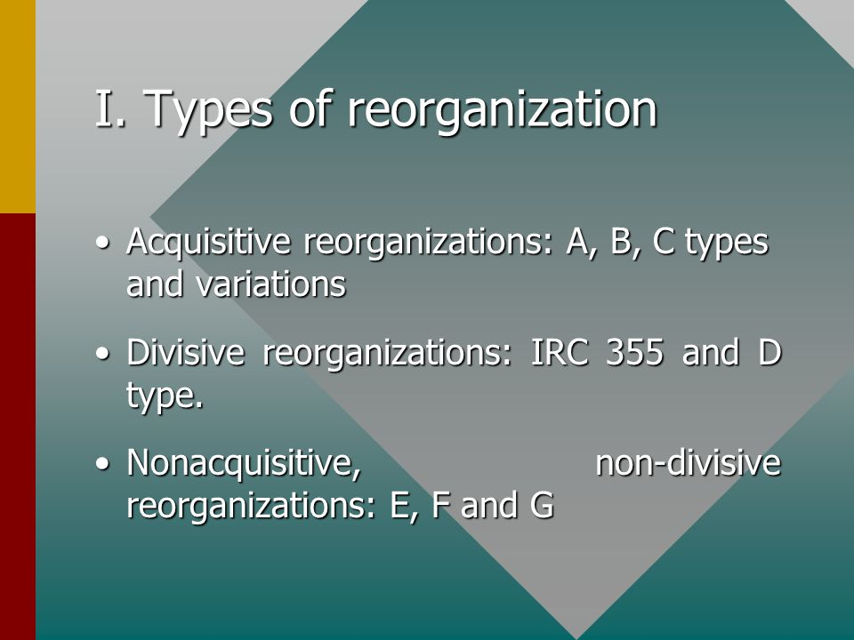 I. Types of reorganization Acquisitive reorganizations: A, B, C types and variationsAcquisitive reorganizations: A, B, C types and variations Divisive