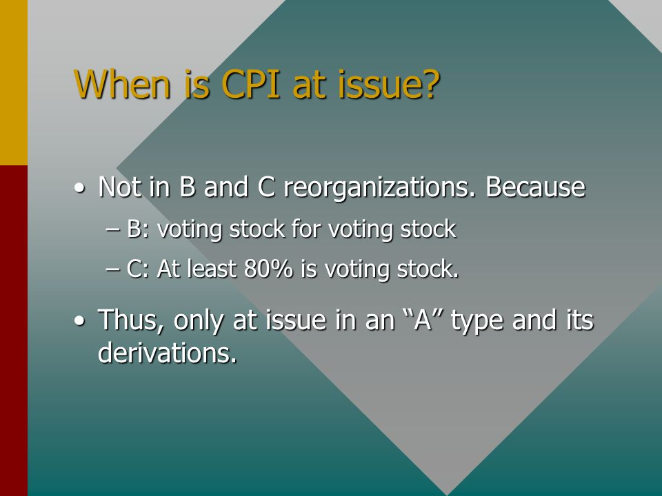 When is CPI at issue. Not in B and C reorganizations.
