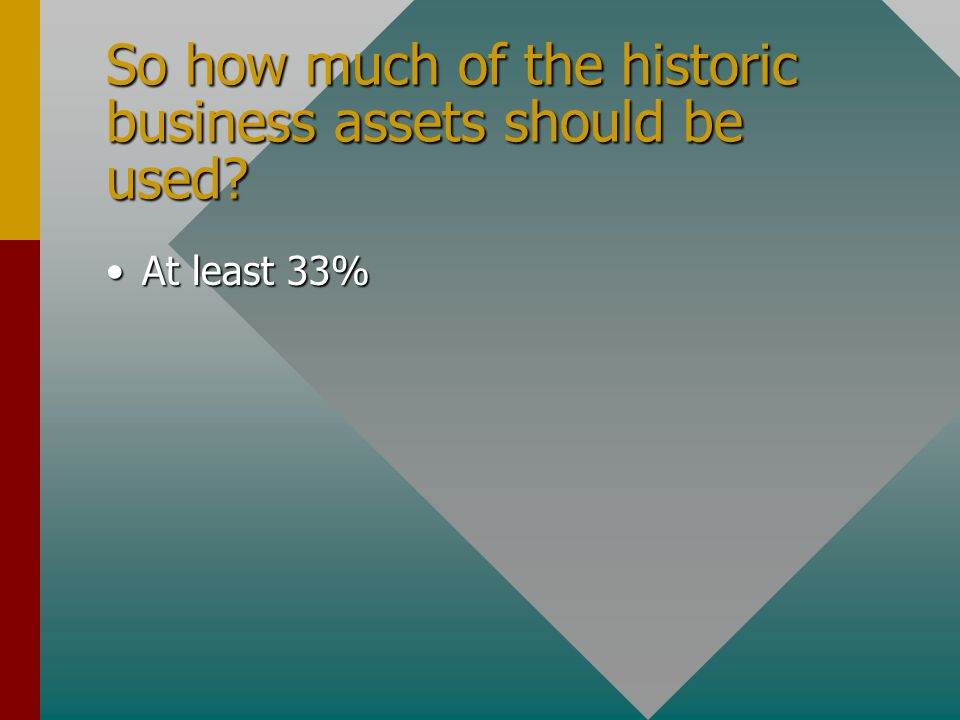 So how much of the historic business assets should be used? At least 33%At least 33%