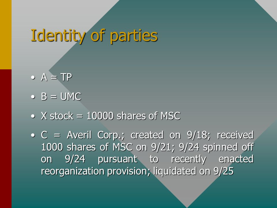 Identity of parties A = TPA = TP B = UMCB = UMC X stock = 10000 shares of MSCX stock = 10000 shares of MSC C = Averil Corp.; created on 9/18; received