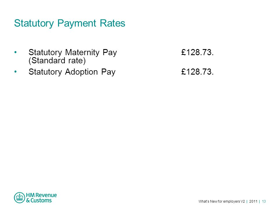 What's New for employers V2 | 2011 | 13 Statutory Payment Rates Statutory Maternity Pay£128.73.