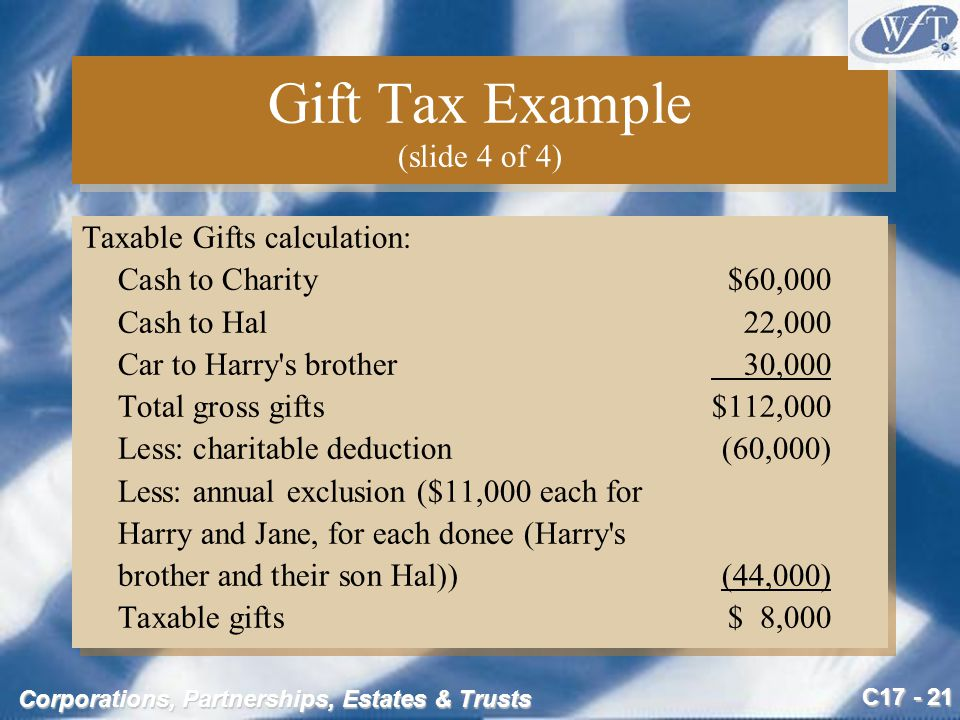C17 - 21 Corporations, Partnerships, Estates & Trusts Gift Tax Example (slide 4 of 4) Taxable Gifts calculation: Cash to Charity$60,000 Cash to Hal 22,000 Car to Harry s brother 30,000 Total gross gifts $112,000 Less: charitable deduction (60,000) Less: annual exclusion ($11,000 each for Harry and Jane, for each donee (Harry s brother and their son Hal))(44,000) Taxable gifts$ 8,000 Taxable Gifts calculation: Cash to Charity$60,000 Cash to Hal 22,000 Car to Harry s brother 30,000 Total gross gifts $112,000 Less: charitable deduction (60,000) Less: annual exclusion ($11,000 each for Harry and Jane, for each donee (Harry s brother and their son Hal))(44,000) Taxable gifts$ 8,000