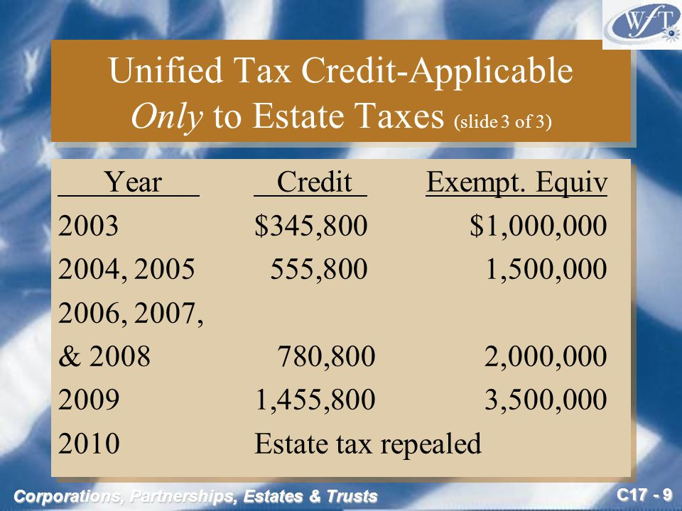 C17 - 10 Corporations, Partnerships, Estates & Trusts Valuation for Estate Tax Purposes (slide 1 of 2) The value of property on date of transfer generally determines the amount subject to gift or estate tax Under certain conditions, however, an executor can elect to value estate assets on the alternate valuation date –Six months after death or –On the date of disposition if this occurs earlier The value of property on date of transfer generally determines the amount subject to gift or estate tax Under certain conditions, however, an executor can elect to value estate assets on the alternate valuation date –Six months after death or –On the date of disposition if this occurs earlier