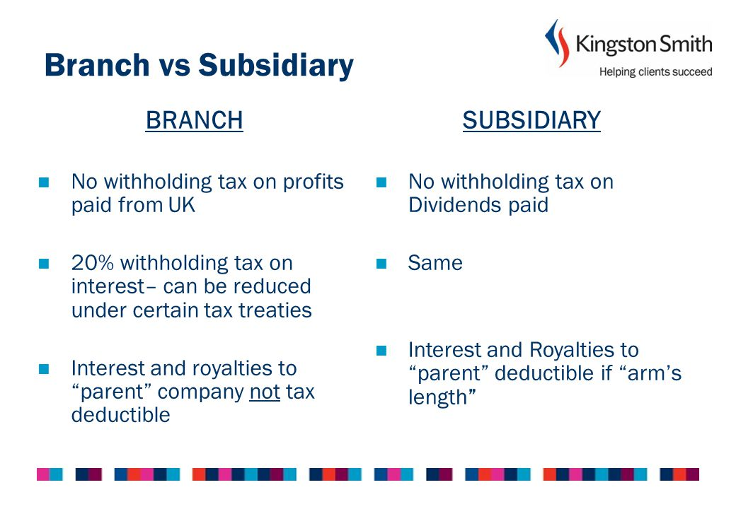 Branch vs Subsidiary BRANCH No statutory audit requirement Must file non-UK (audited) financial statements on public record Can be perceived to be a weak presence in the UK SUBSIDIARY Statutory audit required if criteria met Must file UK GAAP financial statements of subsidiary on public record A strong presence in the UK