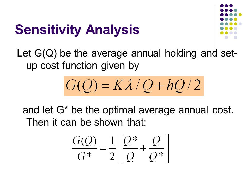 Sensitivity Analysis Let G(Q) be the average annual holding and set- up cost function given by and let G* be the optimal average annual cost. Then it
