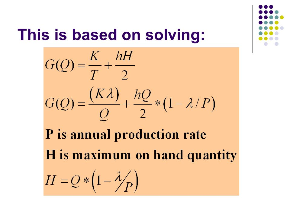 This is based on solving: