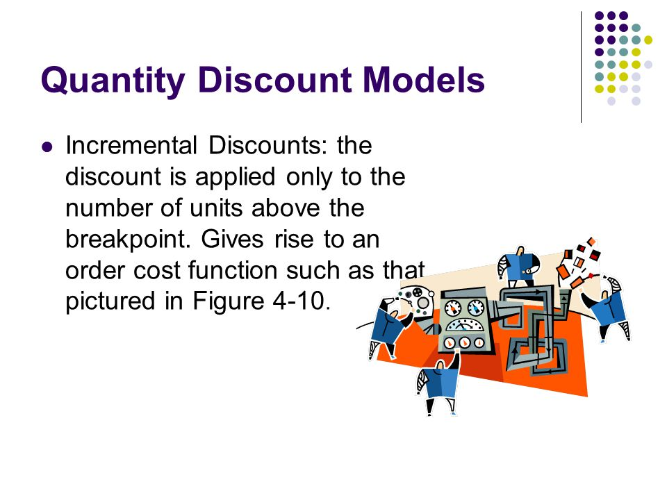 Quantity Discount Models Incremental Discounts: the discount is applied only to the number of units above the breakpoint. Gives rise to an order cost