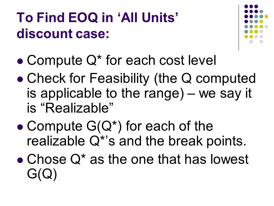 To Find EOQ in 'All Units' discount case: Compute Q* for each cost level Check for Feasibility (the Q computed is applicable to the range) – we say it