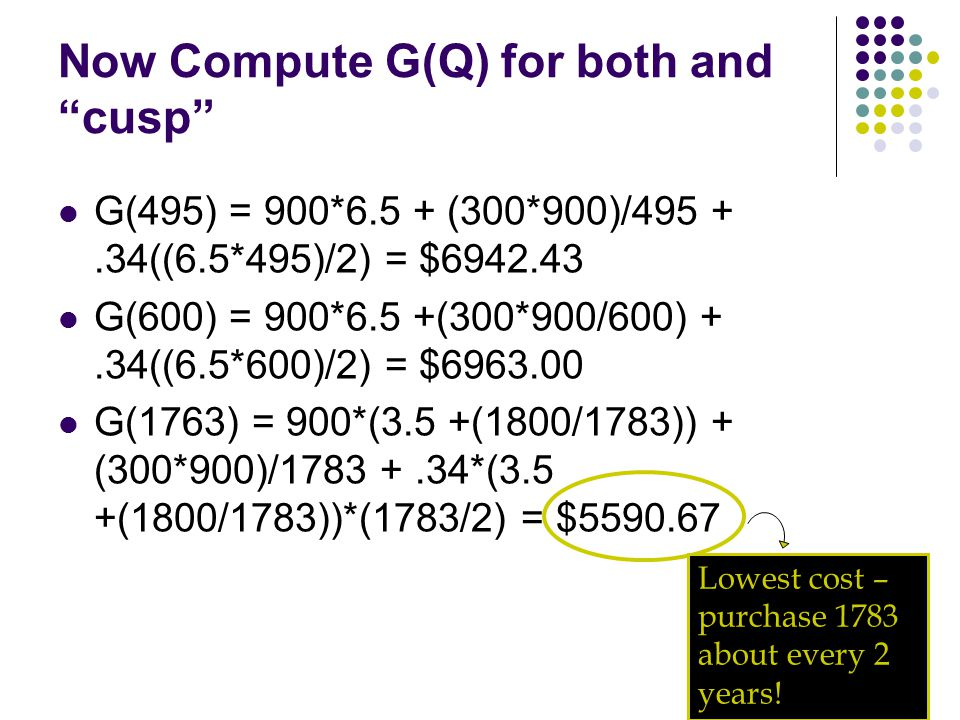 """Now Compute G(Q) for both and """"cusp"""" G(495) = 900*6.5 + (300*900)/495 +.34((6.5*495)/2) = $6942.43 G(600) = 900*6.5 +(300*900/600) +.34((6.5*600)/2) ="""