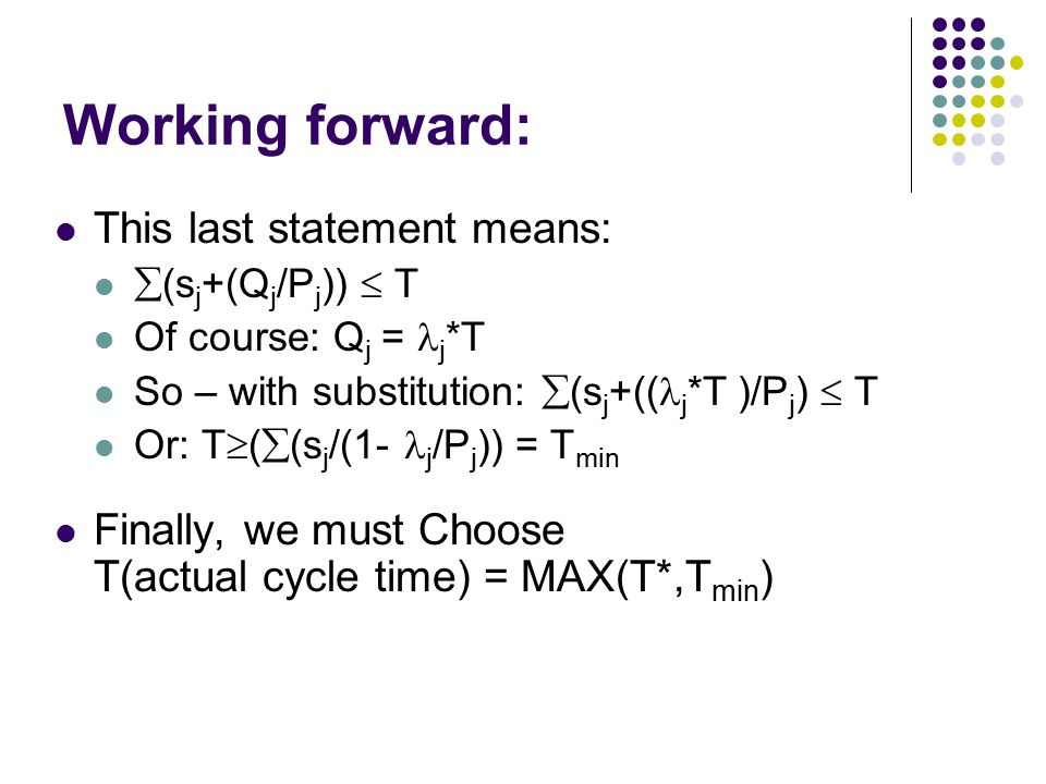 Working forward: This last statement means:  (s j +(Q j /P j ))  T Of course: Q j = j *T So – with substitution:  (s j +(( j *T )/P j )  T Or: T 