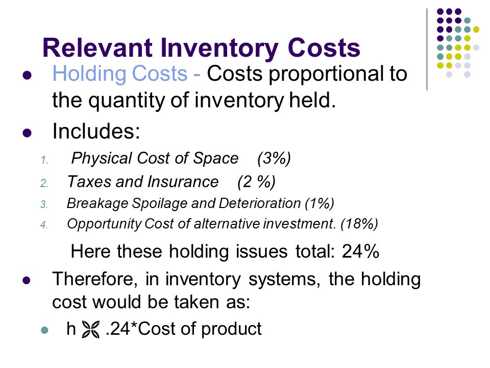 Relevant Inventory Costs Holding Costs - Costs proportional to the quantity of inventory held. Includes: 1. Physical Cost of Space (3%) 2. Taxes and I