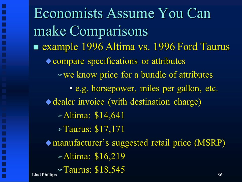 Llad Phillips36 Economists Assume You Can make Comparisons n example 1996 Altima vs. 1996 Ford Taurus u compare specifications or attributes F we know