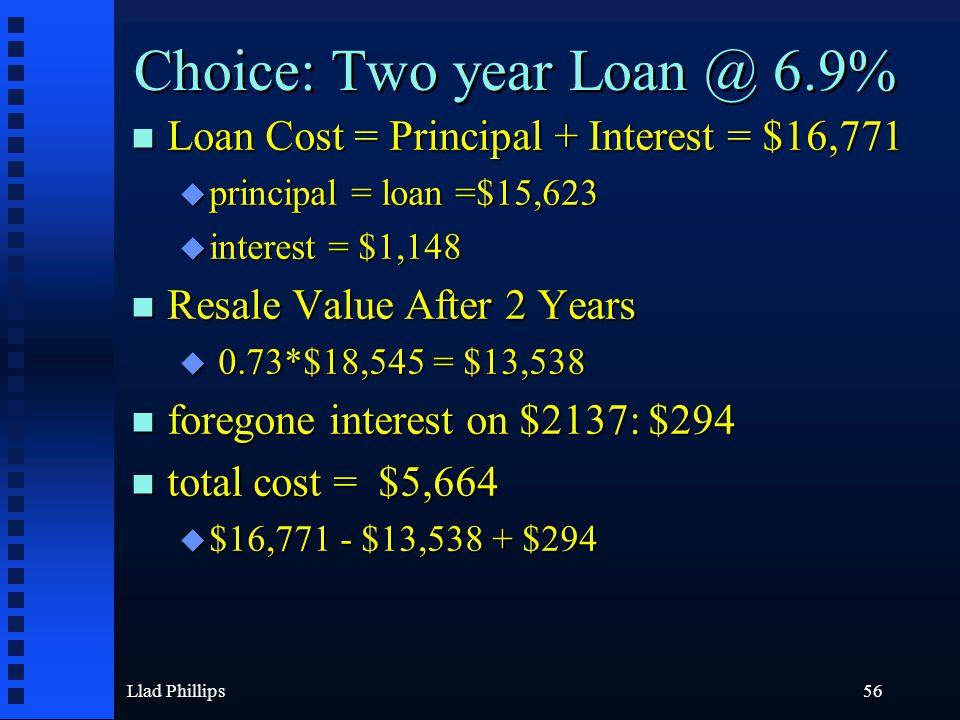 Llad Phillips56 Choice: Two year Loan @ 6.9% n Loan Cost = Principal + Interest = $16,771 u principal = loan =$15,623 u interest = $1,148 n Resale Val