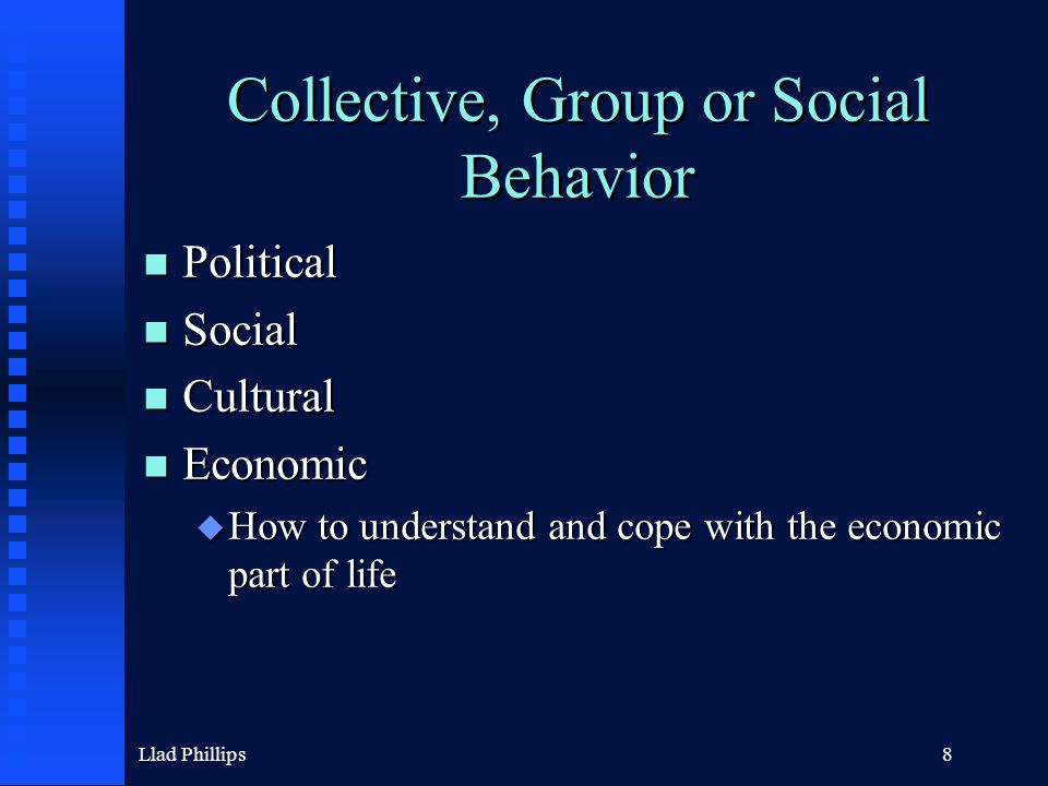 Llad Phillips8 Collective, Group or Social Behavior n Political n Social n Cultural n Economic u How to understand and cope with the economic part of