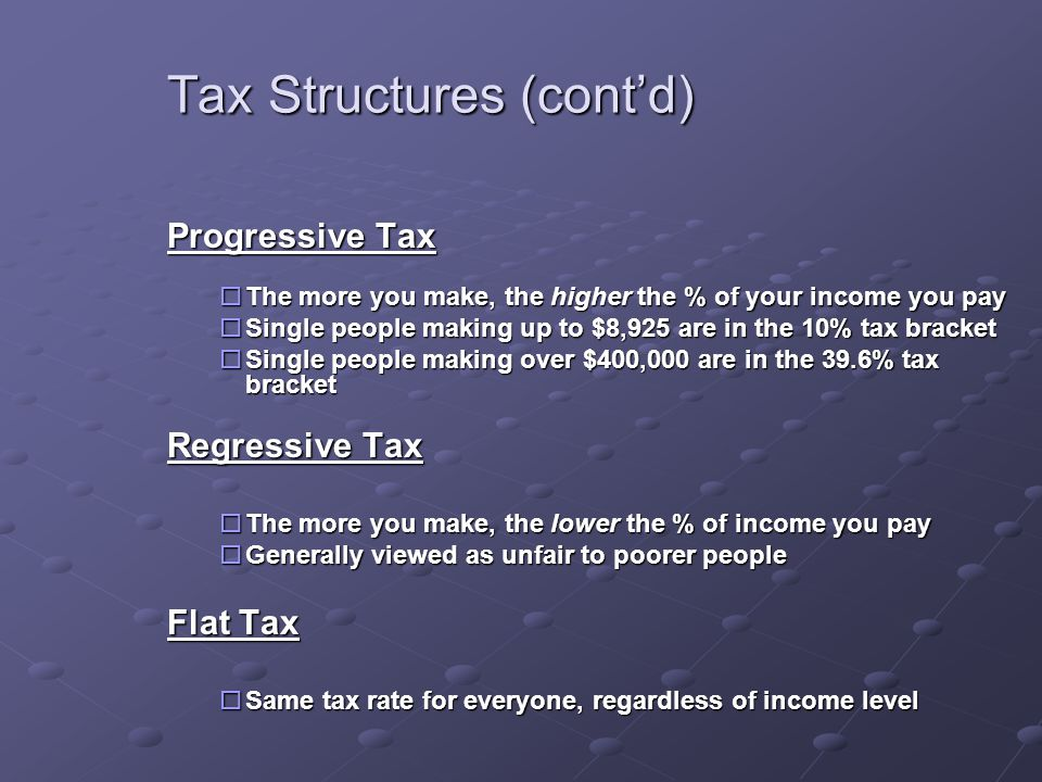 Tax Structures (cont'd) Progressive Tax  The more you make, the higher the % of your income you pay  Single people making up to $8,925 are in the 10% tax bracket  Single people making over $400,000 are in the 39.6% tax bracket Regressive Tax  The more you make, the lower the % of income you pay  Generally viewed as unfair to poorer people Flat Tax  Same tax rate for everyone, regardless of income level