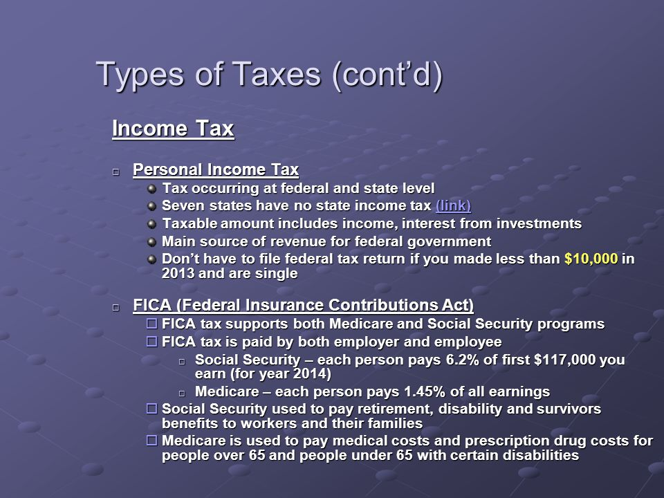 Types of Taxes (cont'd) Income Tax  Personal Income Tax Tax occurring at federal and state level Seven states have no state income tax (link) (link)