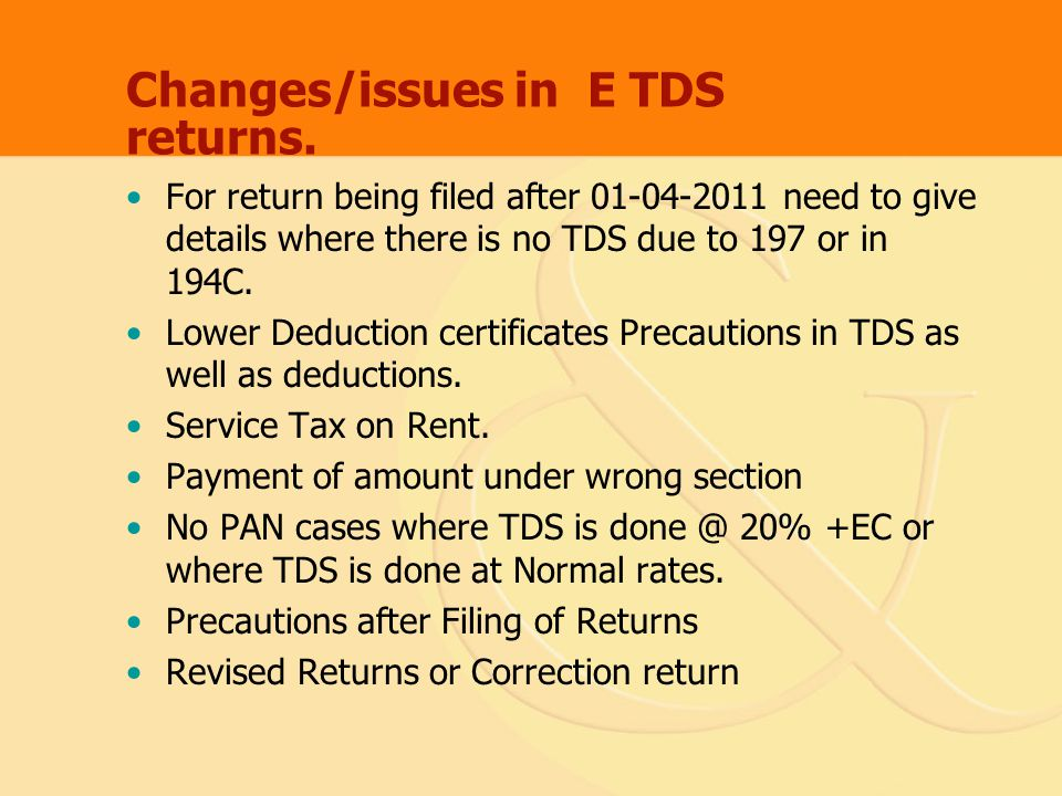 Changes/issues in E TDS returns.